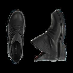 Biker boots flat neri in eco-pelle, Stivaletti, 140701515EPNERO036, 003 preview