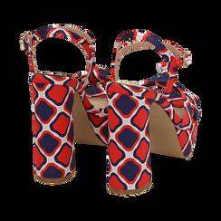 Sandali rossi in raso optical print, tacco 12 cm, Sandali con tacco, 152133401RSROSS036, 004 preview