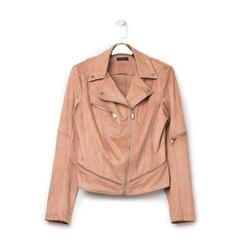 Biker jacket nude in microfibra con zip e boules, Primadonna, 136501757MFNUDE, 001 preview
