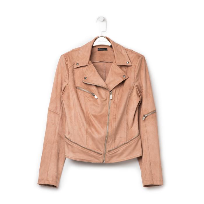 Biker jacket nude in microfibra con zip e boules, Primadonna, 136501757MFNUDE