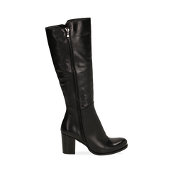 Stivali neri in pelle di vitello, tacco 8 cm , Stivali, 14A200748VINERO036, 001 preview