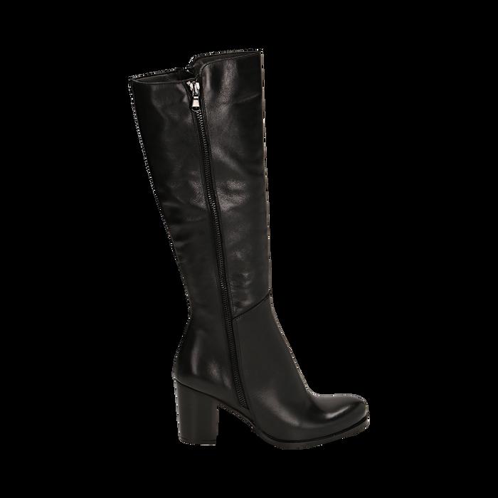 Stivali neri in pelle di vitello, tacco 8 cm , Stivali, 14A200748VINERO036