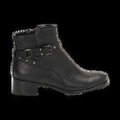 Ankle boots neri in eco-pelle, tacco 4 cm , Scarpe, 143098118EPNERO036, 001 preview