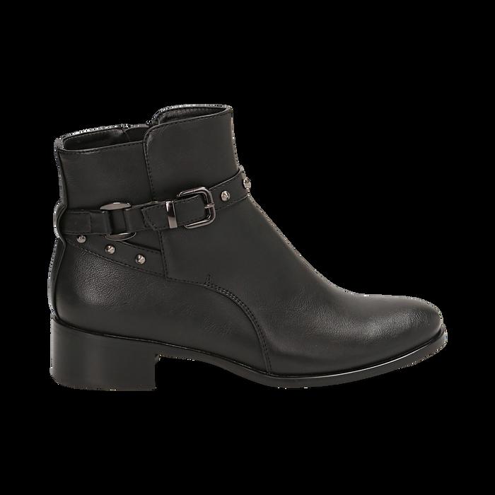 Ankle boots neri in eco-pelle, tacco 4 cm , Scarpe, 143098118EPNERO036