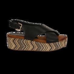 Sandali platform neri in eco-pelle, zeppa intrecciata 5 cm, Primadonna, 132117952EPNERO, 001 preview