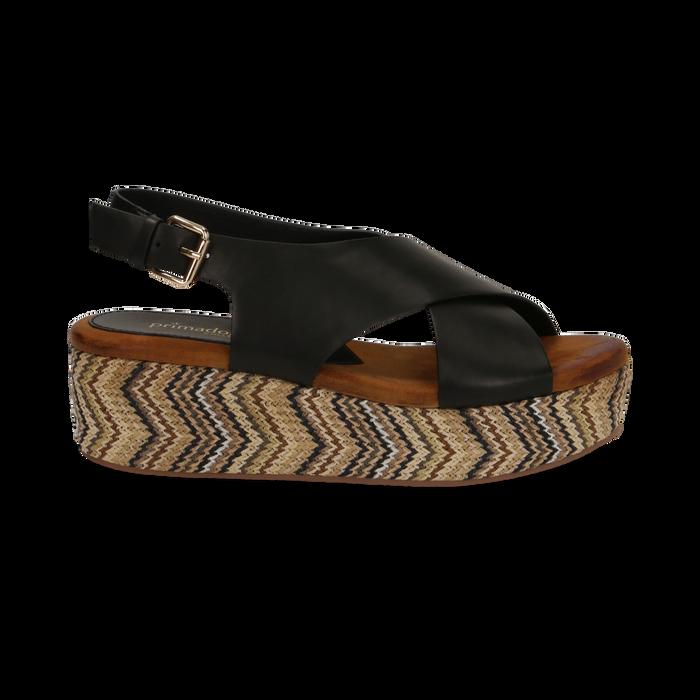 Sandali platform neri in eco-pelle, zeppa intrecciata 5 cm, Primadonna, 132117952EPNERO