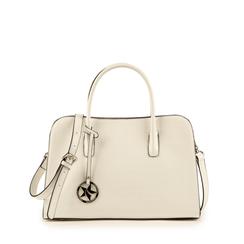 Bolsa de mano en eco-piel con estampado de cocodrilo color blanco, Primadonna, 155702495CCBIANUNI, 001a