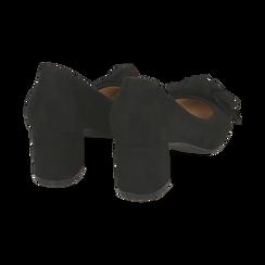 Décolleté nere in microfibra con fiocco, tacco 5,50 cm, Scarpe, 152182281MFNERO037, 004 preview