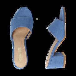 Mules azzurre in microfibra, tacco 6,50 cm , Scarpe, 134956151MFAZZU036, 003 preview