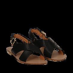 Sandali flat neri in eco-pelle, con lavorazione lasercut, Primadonna, 113010566EPNERO036, 002a