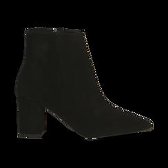 Tronchetti neri in vero camoscio, tacco 5 cm, Scarpe, 12D614011CMNERO, 001 preview