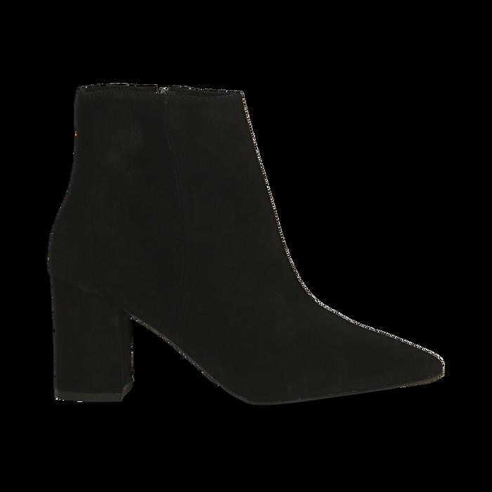 Tronchetti neri in vero camoscio, tacco 5 cm, Scarpe, 12D614011CMNERO