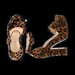 Sandali leopard in microfibra con plateau, tacco 13 cm, Sandali con tacco, 138404163MFLEOP036, 003 preview