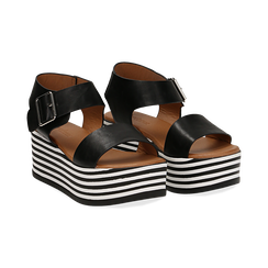Sandali platform neri in eco-pelle, zeppa optical 6,50 cm , Primadonna, 139716068EPNERO035, 002 preview