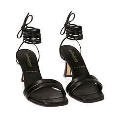 Sandali lace-up neri, tacco 7,5 cm , 17L800196EPNERO036, 002a