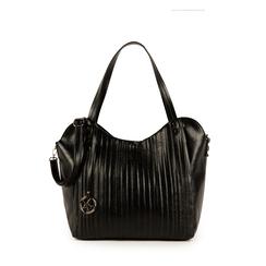 Maxi bag nera in eco-pelle plissettata, Primadonna, 151990281EPNEROUNI, 001a