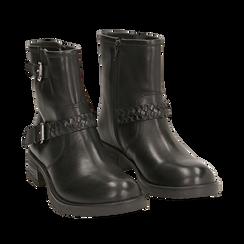 Biker boots neri con fibbie in pelle, tacco 4 cm , Stivaletti, 146262008PENERO035, 002a