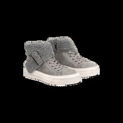 Sneakers grigie con risvolto in eco-shearling, 124110063MFGRIG035, 002