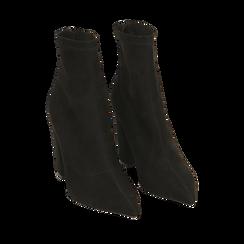 Ankle boots neri in microfibra, tacco 9 cm , Primadonna, 164823107MFNERO035, 002a