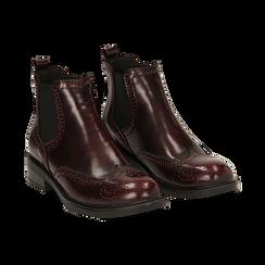 Chelsea boots bordeaux in eco-pelle abrasivata,