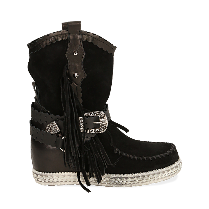 CALZATURA TRONCHETTI CAMOSCIO NERO, Chaussures, 15A220102CMNERO036