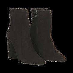 Tronchetti neri in vero camoscio, tacco 10 cm, 12D615110CMNERO041, 002a
