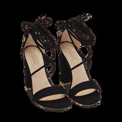 Sandali lace-up neri in microfibra, tacco 10,50 cm, Scarpe, 152760851MFNERO036, 002 preview