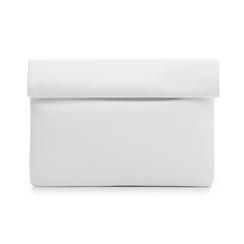Bustina bianca in eco-pelle, ripiegata su sè stessa, Borse, 113308590EPBIANUNI, 001 preview