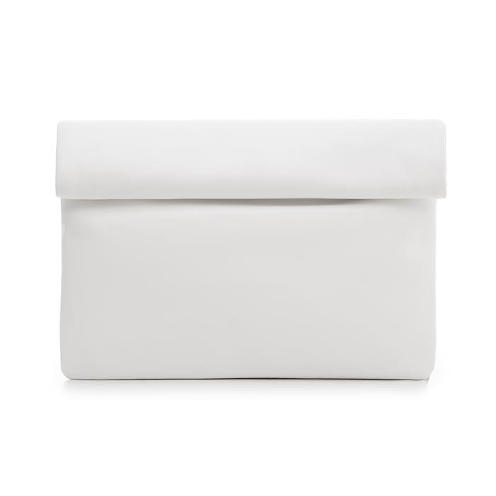 Bustina bianca in eco-pelle, ripiegata su sè stessa, Borse, 113308590EPBIANUNI