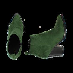 Ankle boots verdi in microfibra, tacco 8,50 cm, Primadonna, 160585965MFVERD035, 003 preview
