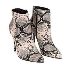 Ankle boots beige/neri effetto snake, tacco 11 cm , Stivaletti, 142182015PTBENE035, 002a
