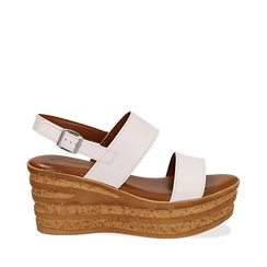 Sandali platform bianchi in eco-pelle, zeppa 8 cm , Primadonna, 13A133255EPBIAN035, 001a