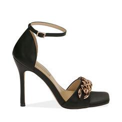 Sandali neri con catena, tacco 10,5 cm , Primadonna, 172114211EPNERO035, 001a