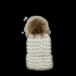 Berretto bianco in lana con strass e pon-pon, Saldi Abbigliamento, 12B409806TSBIAN3XL, 001a