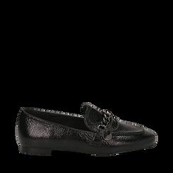 Mocassini a punta neri in laminato, Scarpe, 144911261LMNERO035, 001a