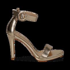 Sandali oro in laminato, tacco stiletto 10 cm , Primadonna, 132127405LMOROG035, 001 preview