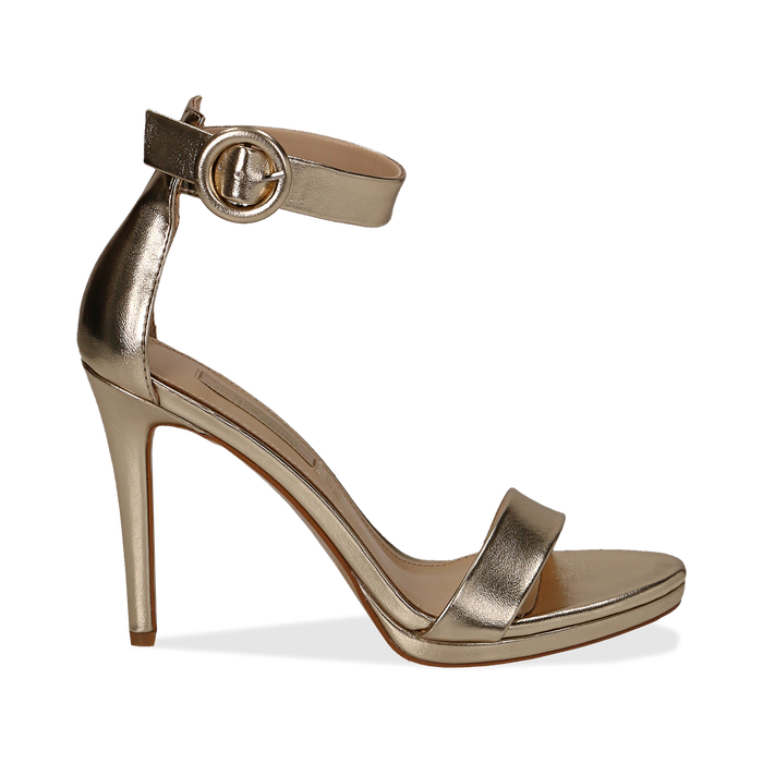 Sandali oro in laminato, tacco stiletto 10 cm , Primadonna, 132127405LMOROG035