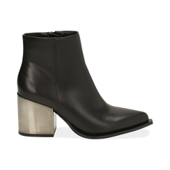 Ankle boots neri in eco-pelle, tacco metal 8 cm , Stivaletti, 142182641EPNERO036, 001 preview