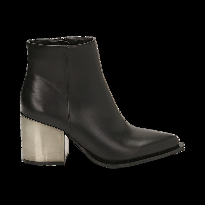 Ankle boots neri in eco-pelle, tacco metal 8 cm , Stivaletti, 142182641EPNERO036