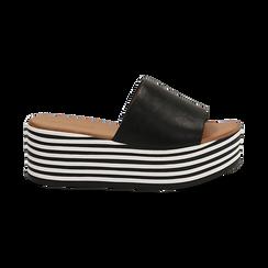 Zeppe platform nere in eco-pelle, zeppa optical 6,50 cm, Saldi Estivi, 139716069EPNERO035, 001 preview