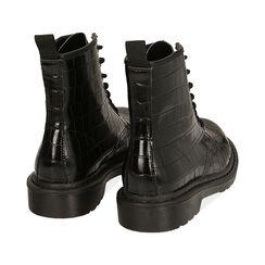 Botas militares en color negro con estampado de cocodrilo, Primadonna, 162801501CCNERO036, 004 preview