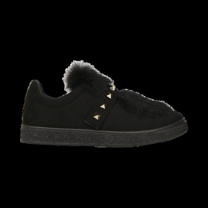 Sneakers nere  slip-on con dettagli faux-fur e borchie, Scarpe, 129300023MFNERO