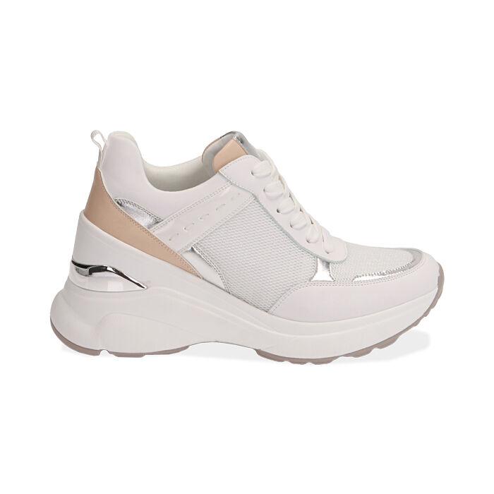 Sneakers bianche, zeppa 9 cm , Scarpe, 172892138EPBIAN037