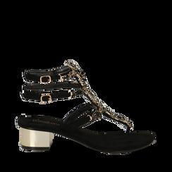 Sandali gioiello infradito neri in microfibra, tacco 6 cm, Primadonna, 134986238MFNERO035, 001a