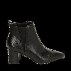 Ankle boots neri stampa vipera, tacco 6 cm , Primadonna, 164931531EVNERO035, 001a
