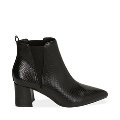 Ankle boots neri stampa vipera, tacco 6 cm , 164931531EVNERO036, 001a