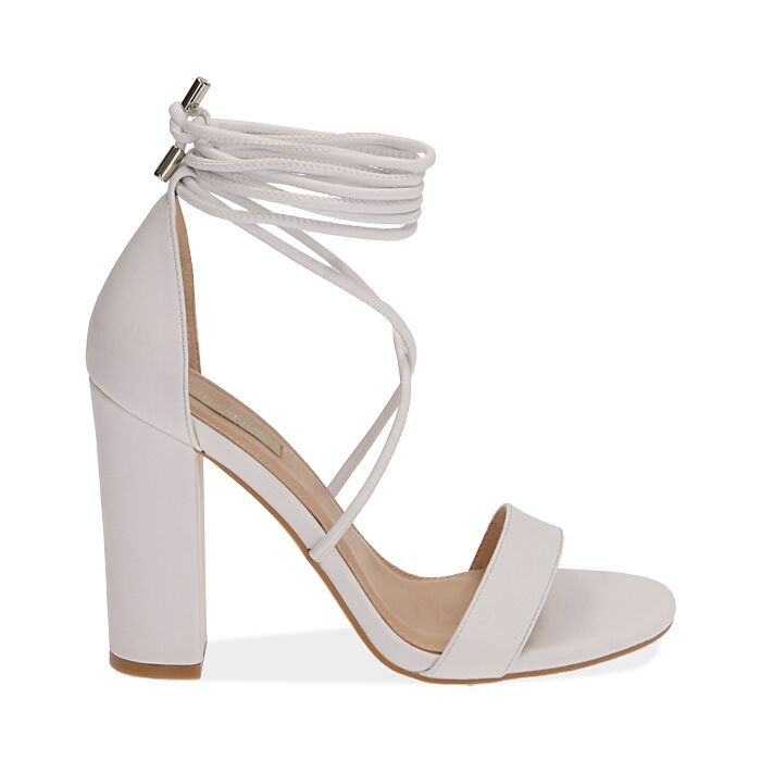 Sandali lace-up bianchi, tacco 10,5 cm , Primadonna, 172760851EPBIAN036