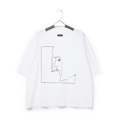T-shirt bianca in tessuto con stampa nera minimal , Abbigliamento, 13I730071TSBIANL, 001a