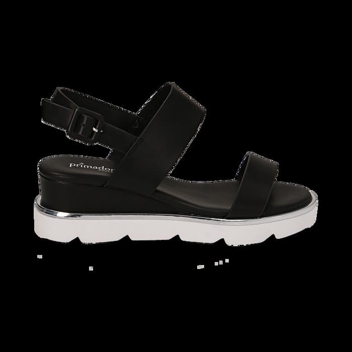 Sandali flat neri in eco-pelle , Scarpe, 132182545EPNERO