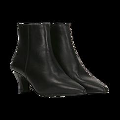 Tronchetti neri in vera pelle, tacco a rocchetto basso 6 cm, Primadonna, 127200154VINERO, 002 preview